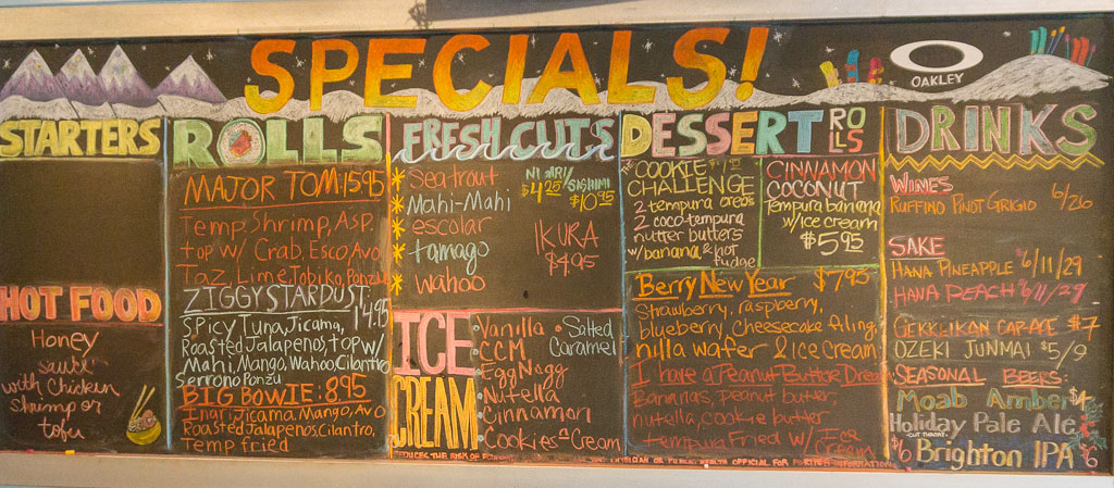 Sushi Groove specials board from 2016