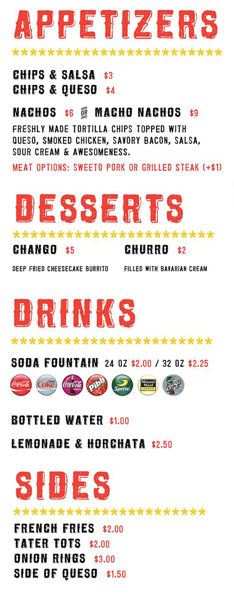 Sweeto Burrito menu - appetizers, desserts, drinks, sides