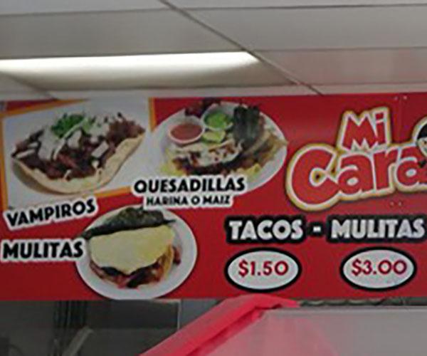 Tacos Mi Caramelo menu - tacos, mulitas
