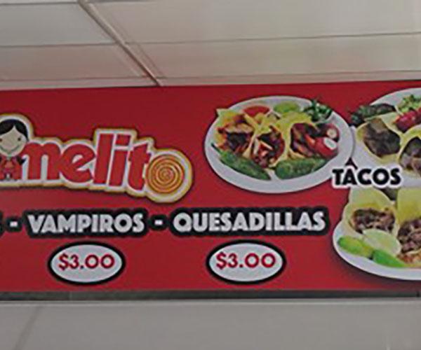 Tacos Mi Caramelo menu - vampiros, quesadillas