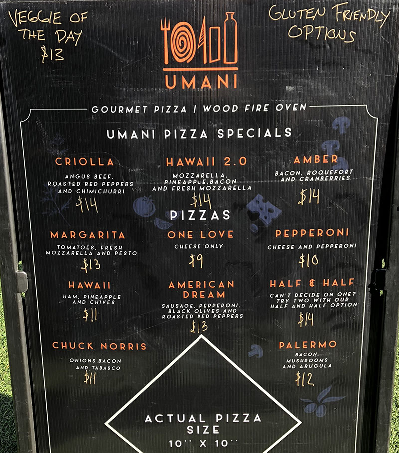 Umani pizza food truck menu