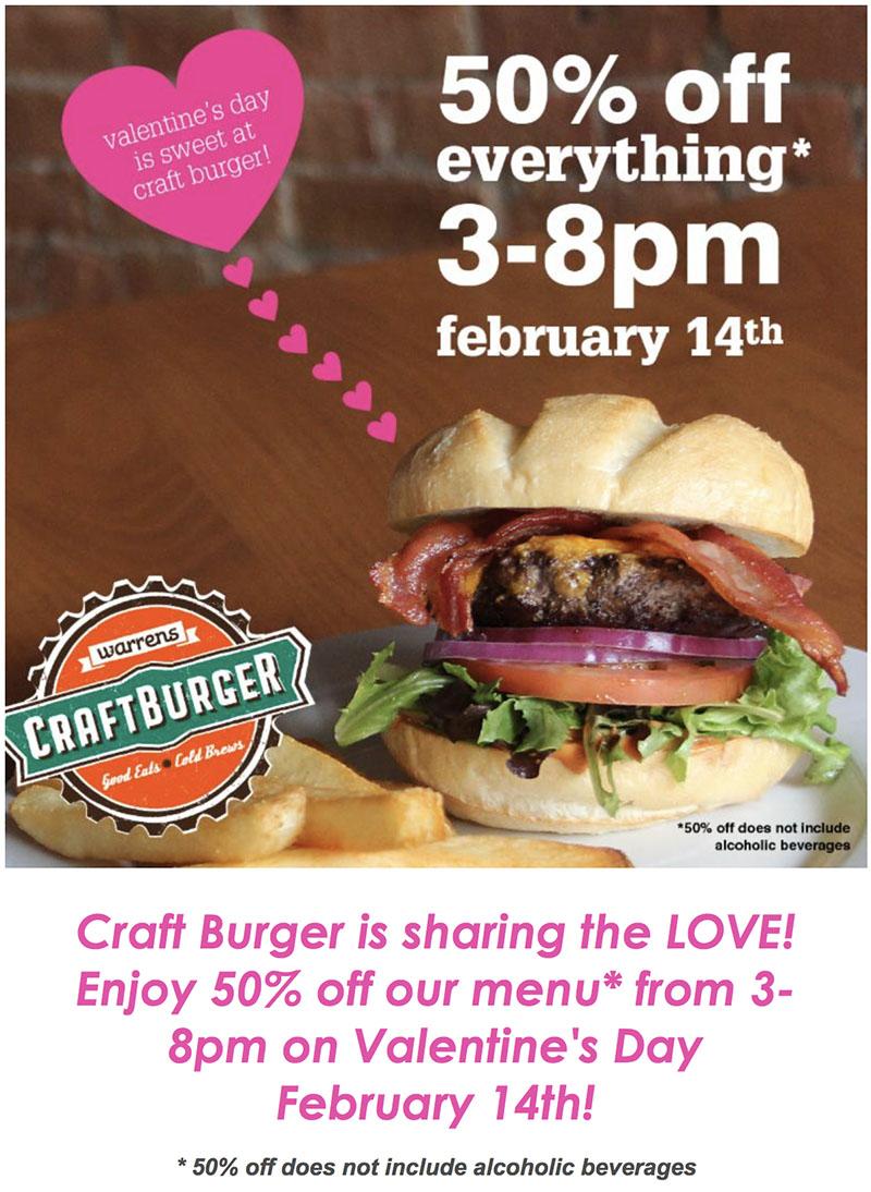 Warrens Craft Burger Valentines 2018 menu