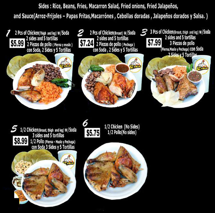 El Rey Del Pollo menu - page one