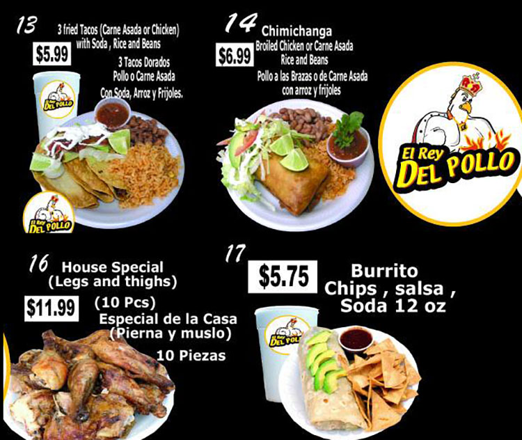 El Rey Del Pollo menu - page three