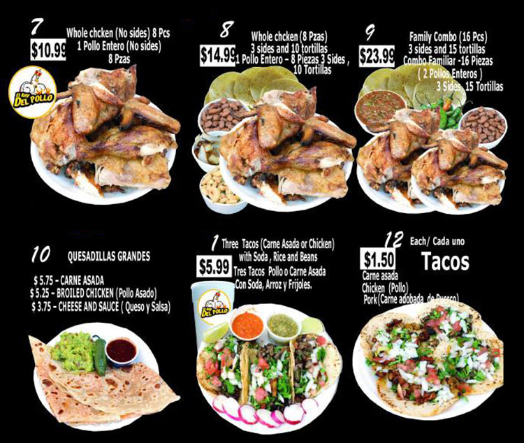 El Rey Del Pollo menu - page two