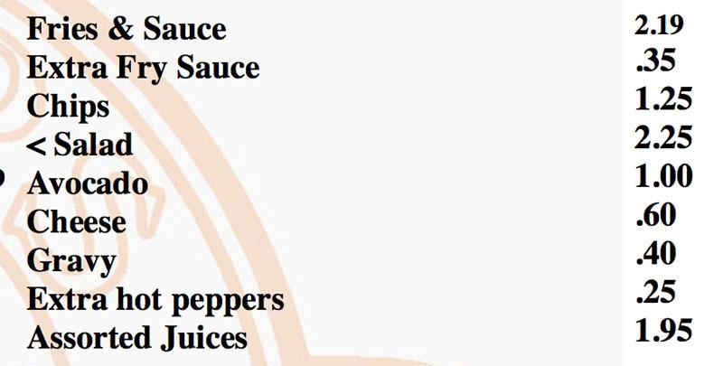 Grinders 13 menu - sides
