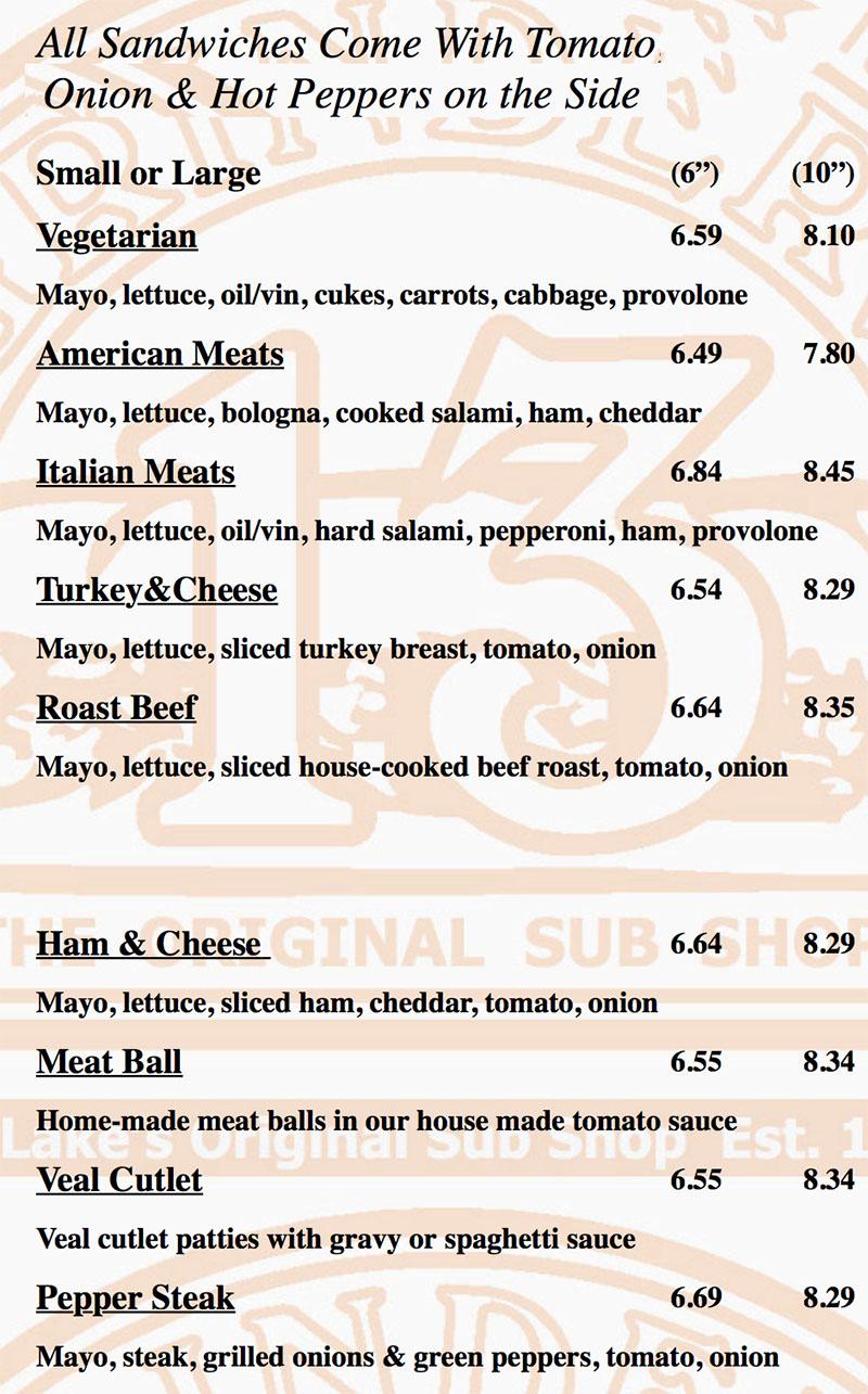 Grinders 13 menu - subs