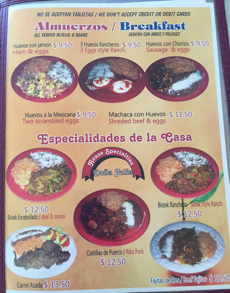 Julias Mexican Food menu - breakfast, house specials