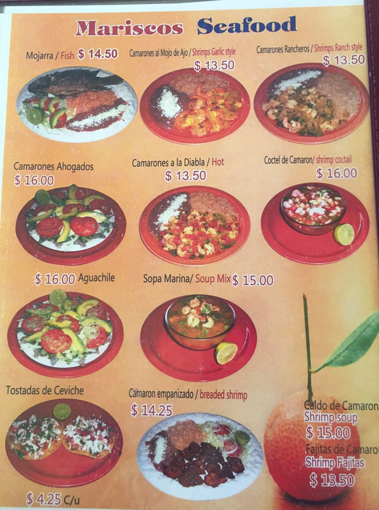 Julias Mexican Food menu - seafood