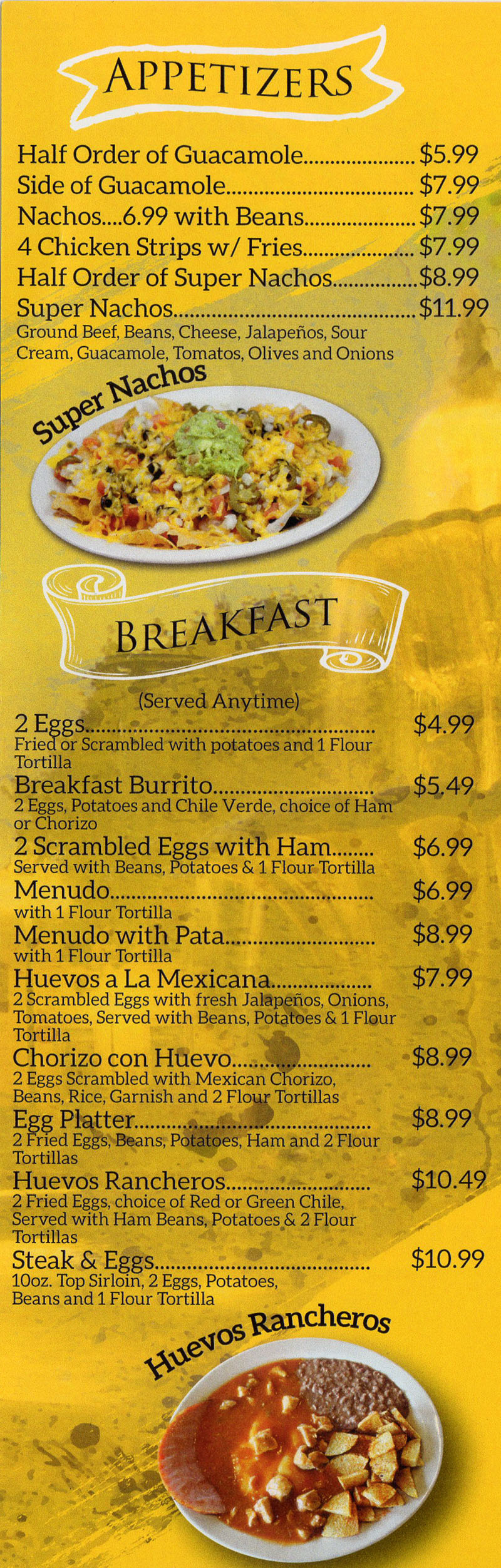 La Fountain menu - appetizers, breakfast