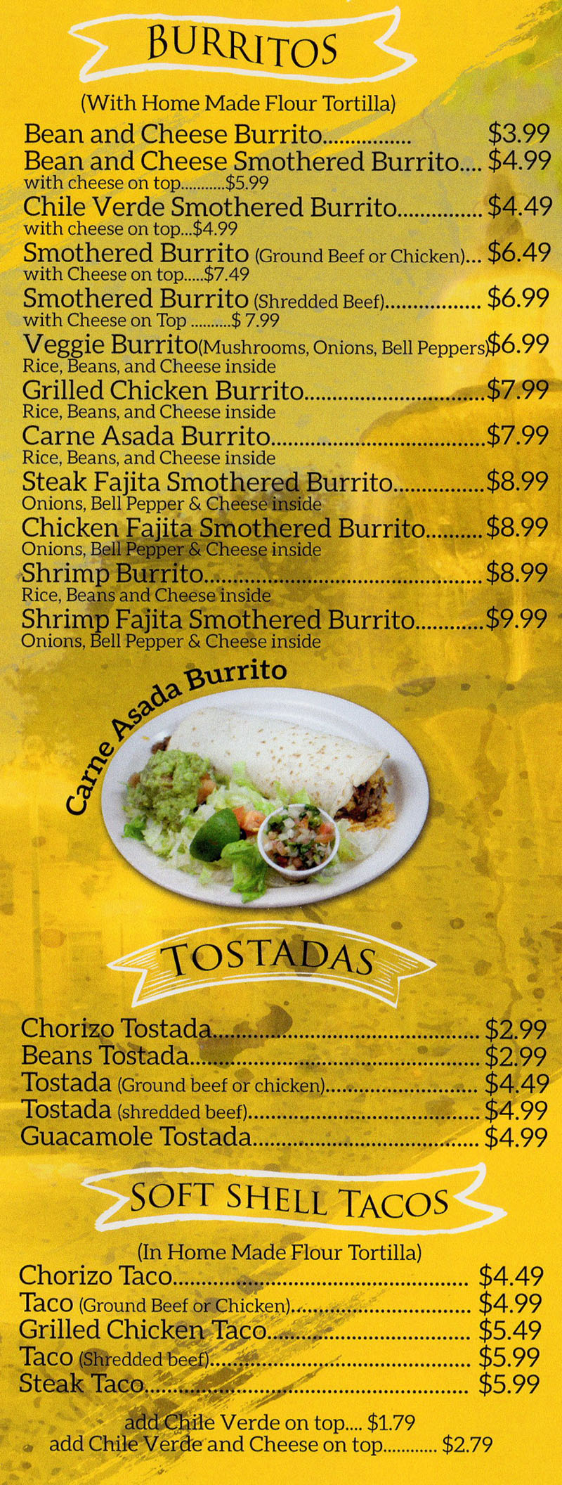 La Fountain menu - burritos, tamales, soft shell tacos, tostadas - ala carte