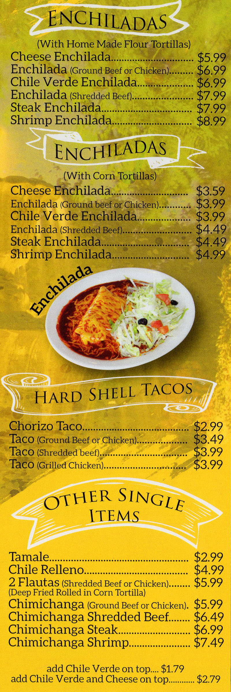 La Fountain menu - enchiladas, hard shell tacos - ala carte