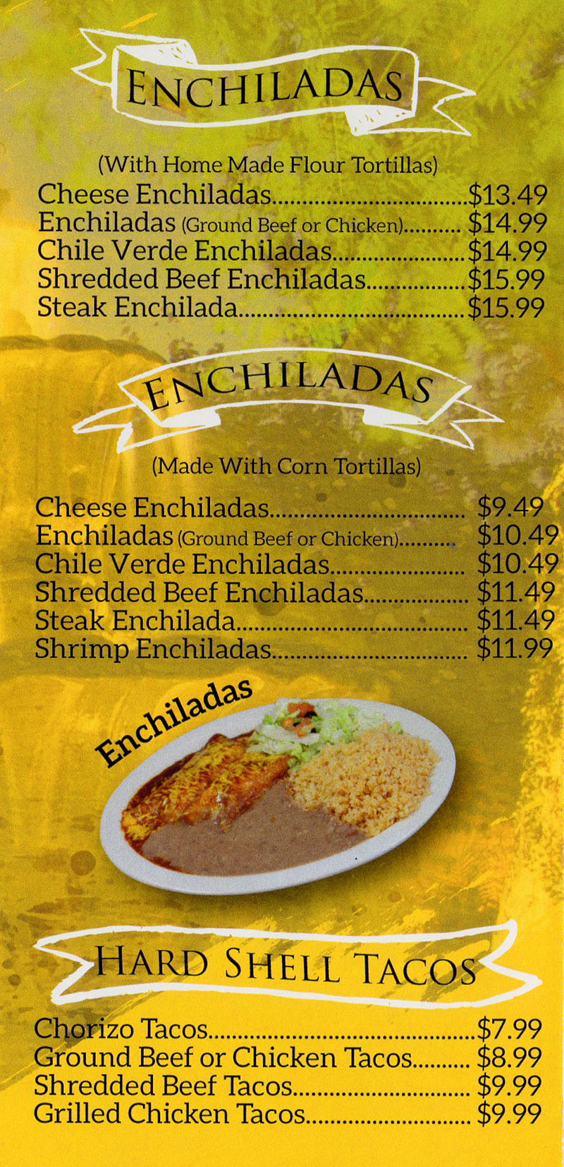 La Fountain menu - enchiladas, hard shell tacos