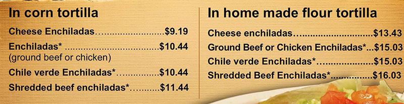 La Fountain menu - enchiladas
