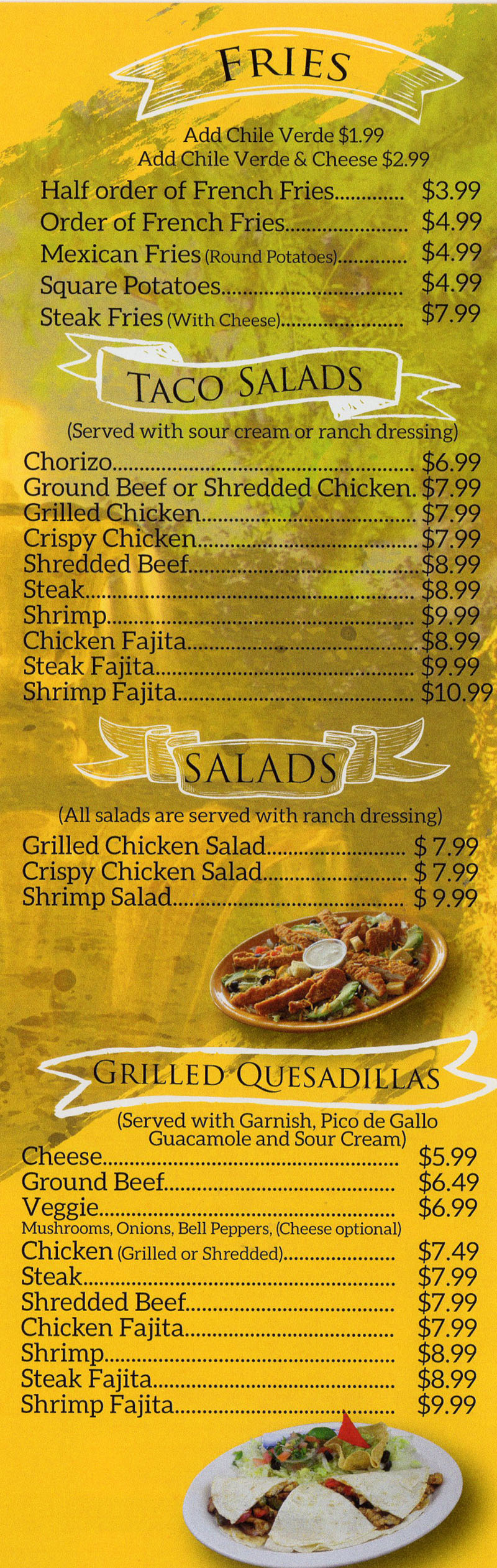 La Fountain menu - fries, taco salads, saalds, grilled quesadillas