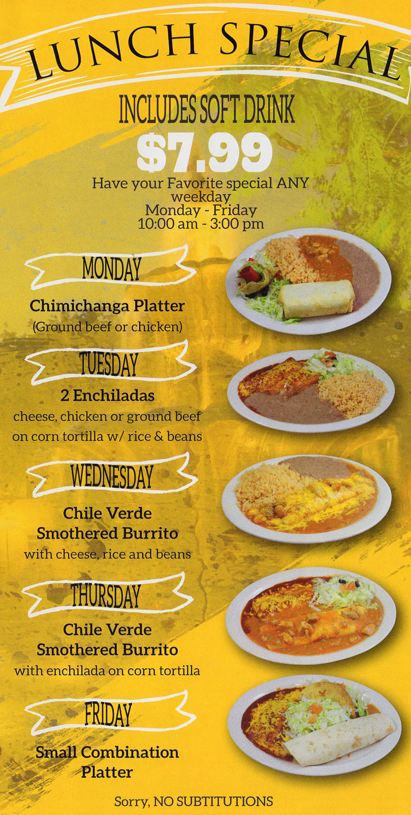 La Fountain menu - lunch specials