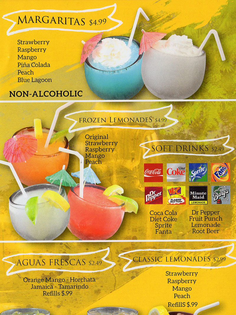 La Fountain menu - margaritas, frozen lemonade, agua fresca, soft drinks