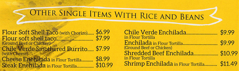 La Fountain menu - other single items with rice and beans