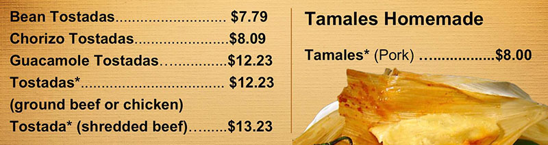 La Fountain menu - toastadas and tamales