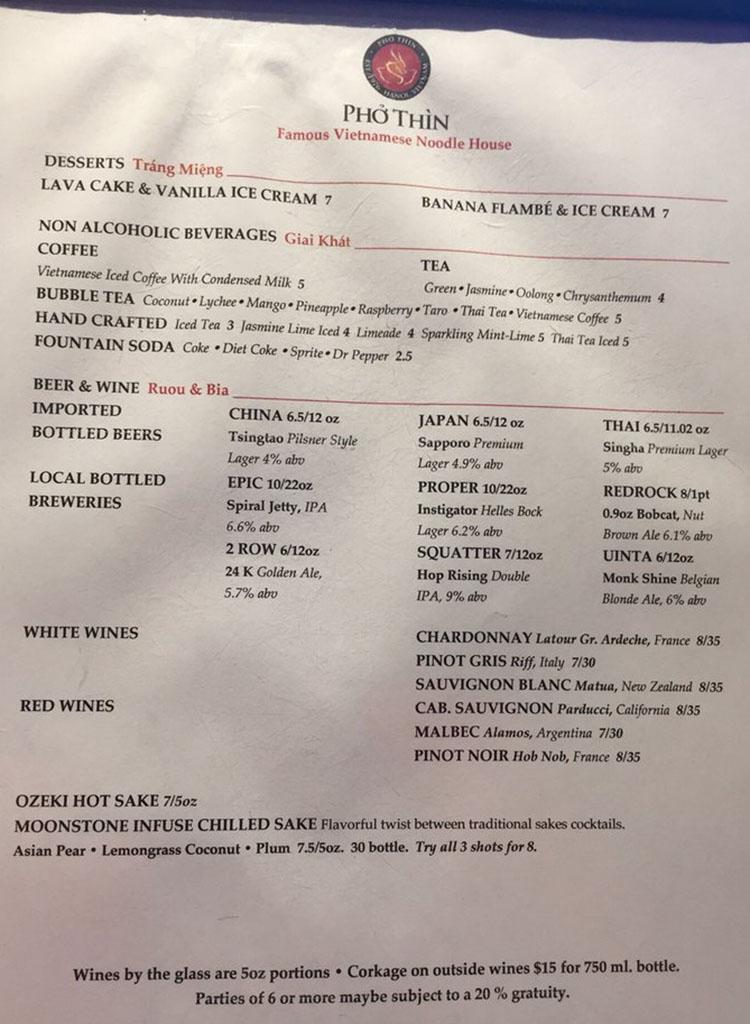 Pho Thin menu - drinks