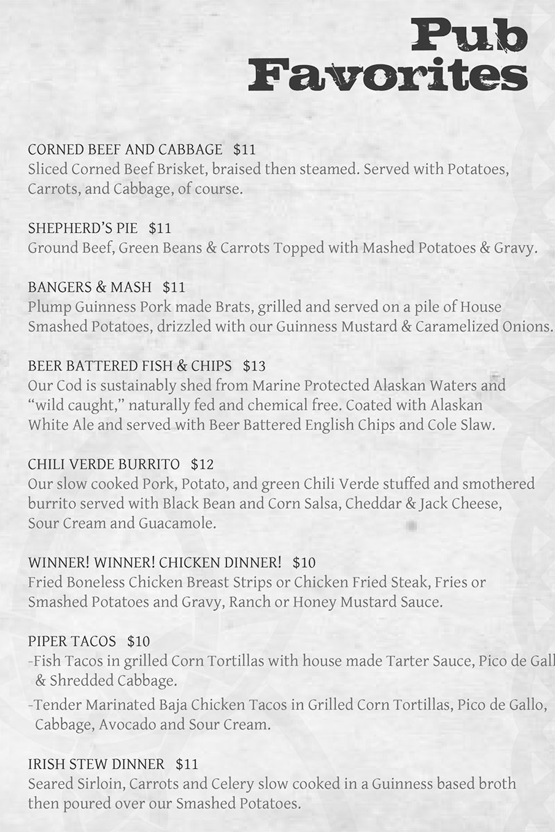 Piper Down menu - pub favorites