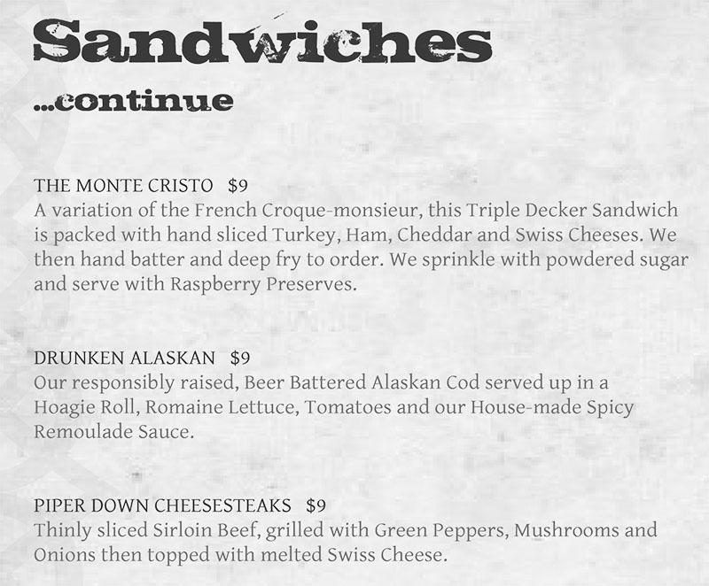 Piper Down menu - sandwiches continued.