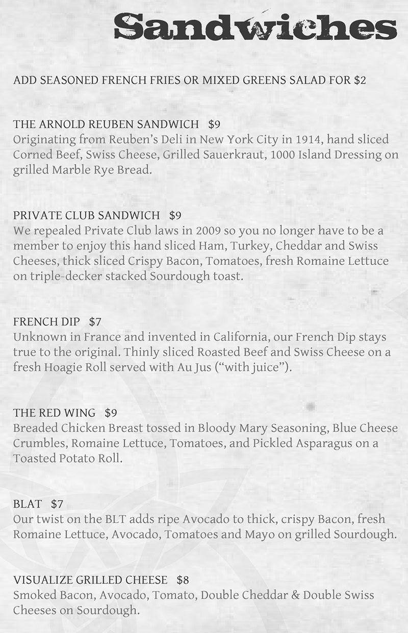 Piper Down menu - sandwiches
