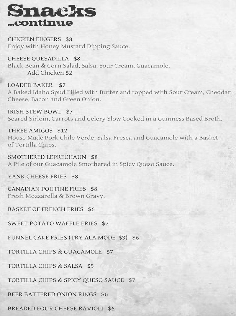 Piper Down menu - snacks continued