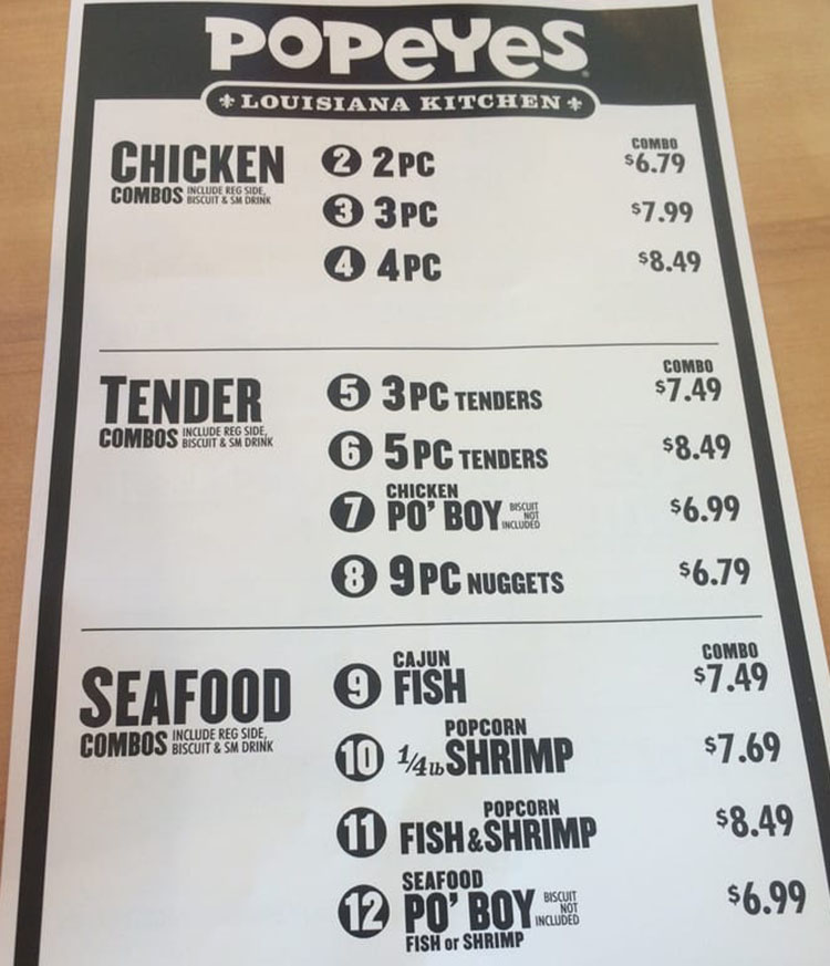 Popeyes Louisiana Kitchen menu - chicken, seafood