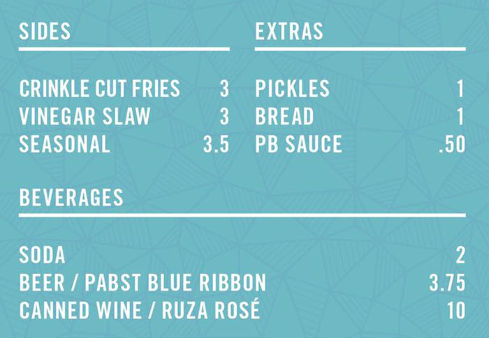 Pretty Bird menu - sides, extras, beverages