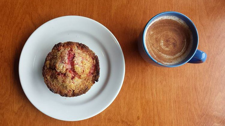 Red Moose Coffee Company - muffin and coffee. Credit, Red Moose