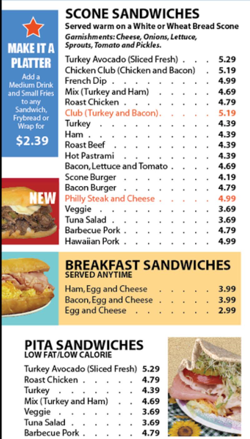Sconecutter menu - scones, sandwiches