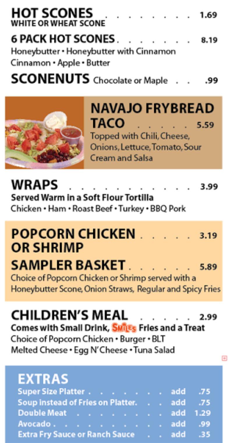 Sconecutter menu - scones, wraps, kids, extras