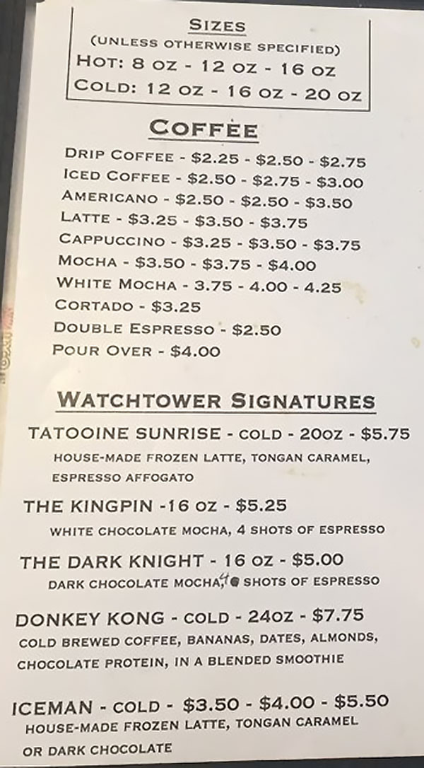 Watch Tower Cafe menu - coffee