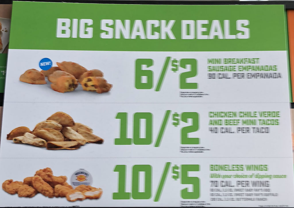 7-Eleven menu - big snack deals