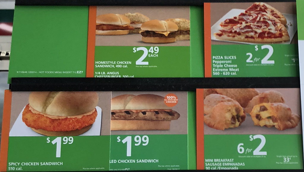7-Eleven menu - sandwiches