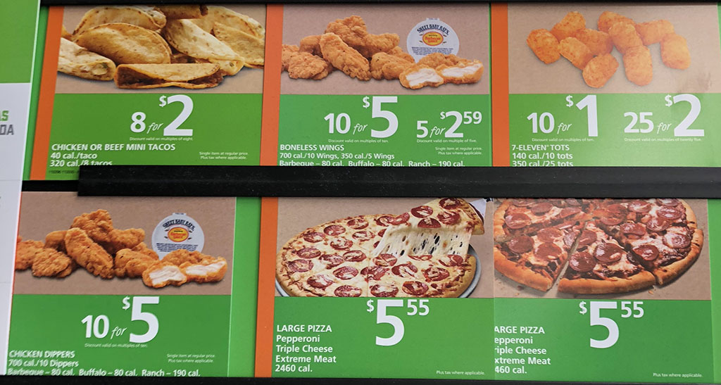 7-Eleven menu - wings, tacos, pizza