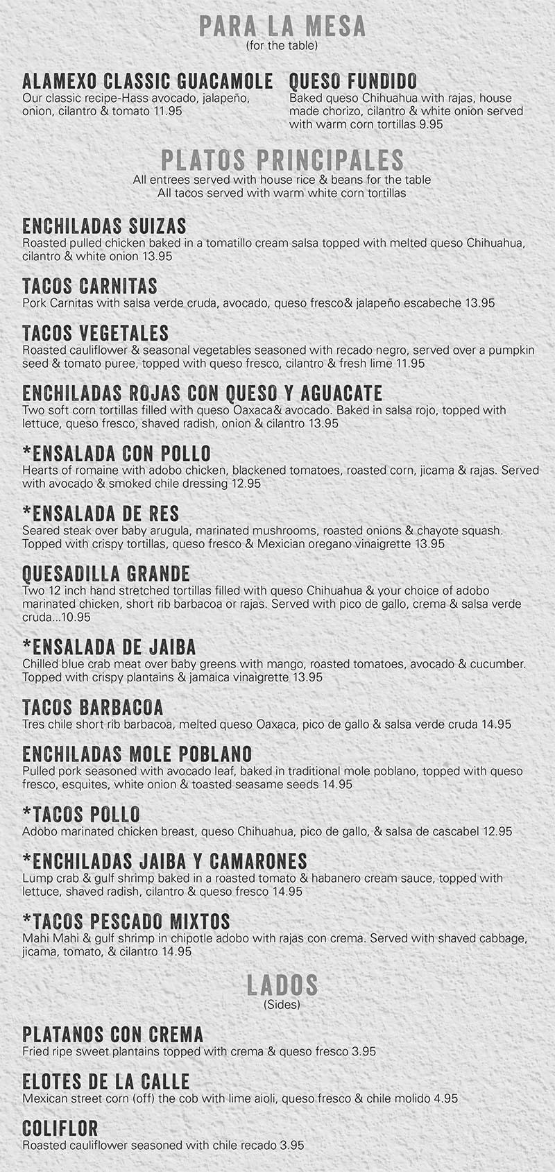 Alamexo lunch menu