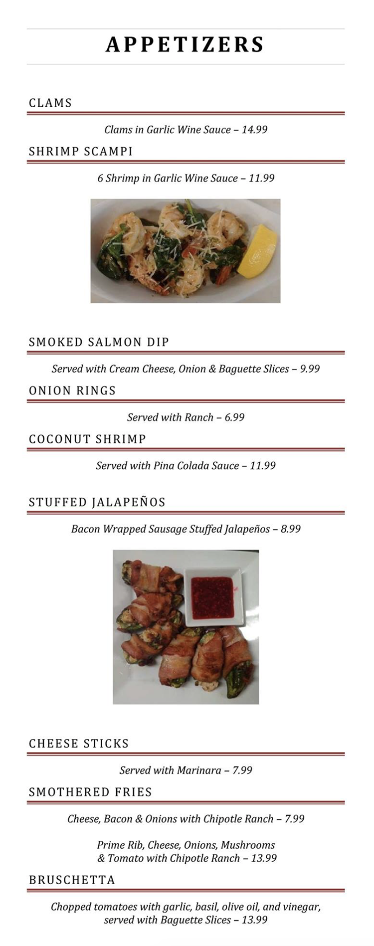 Blue Jay Cafe menu - appetizers