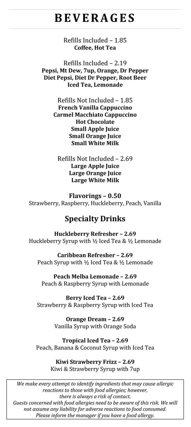 Blue Jay Cafe menu - beverages