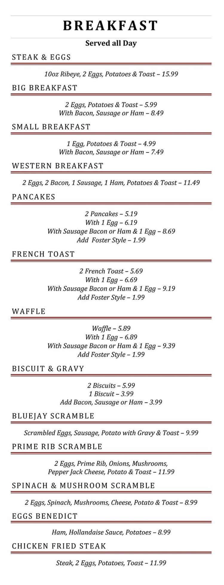 Blue Jay Cafe menu - breakfast page one