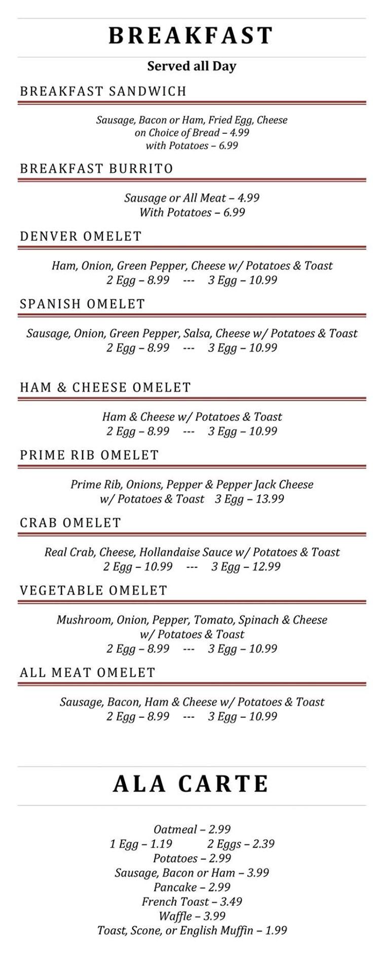 Blue Jay Cafe menu - breakfast page two