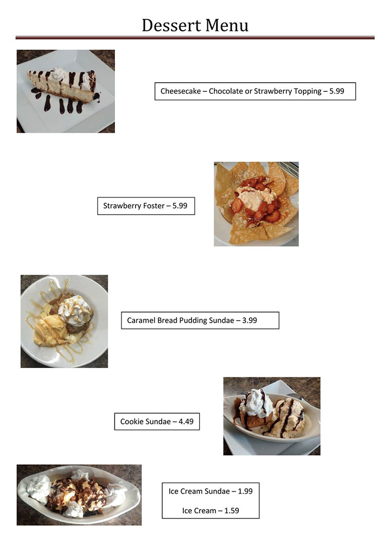 Blue Jay Cafe menu - desserts page one