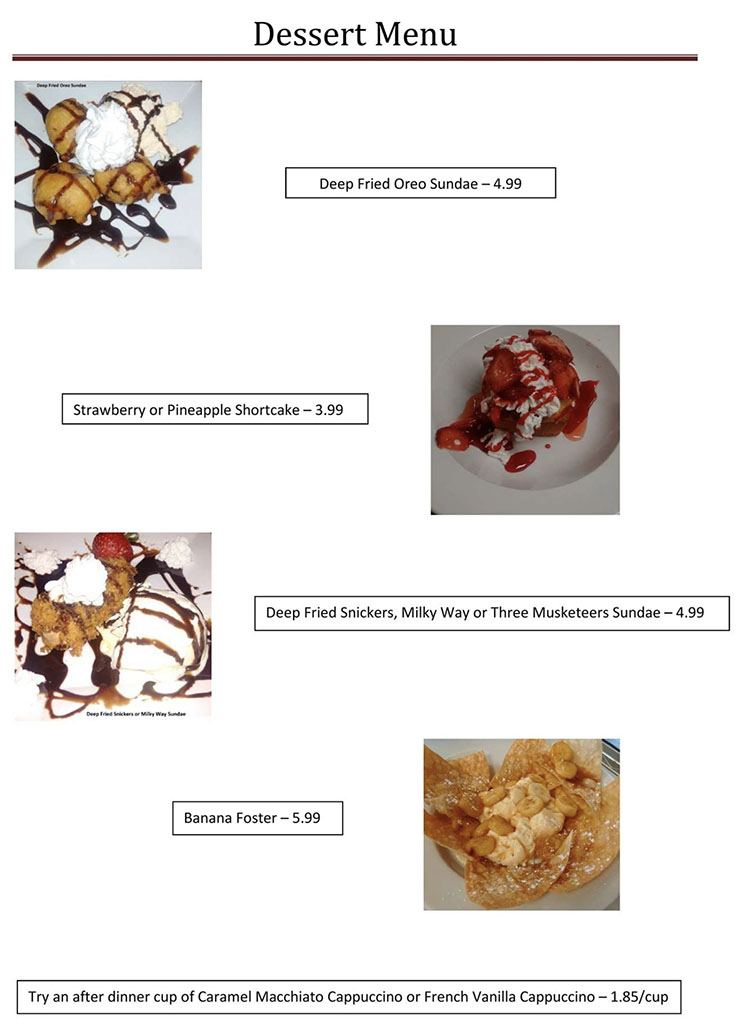 Blue Jay Cafe menu - desserts page two