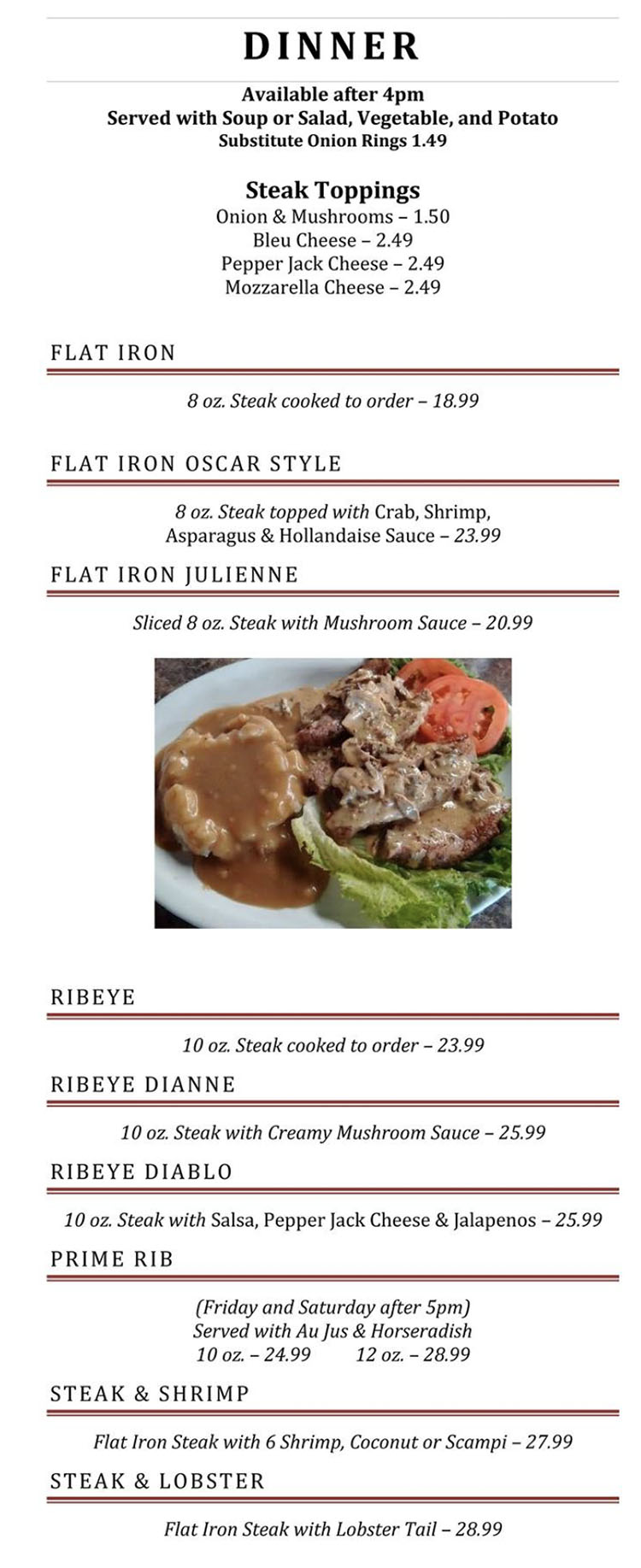 Blue Jay Cafe menu - dinner page one