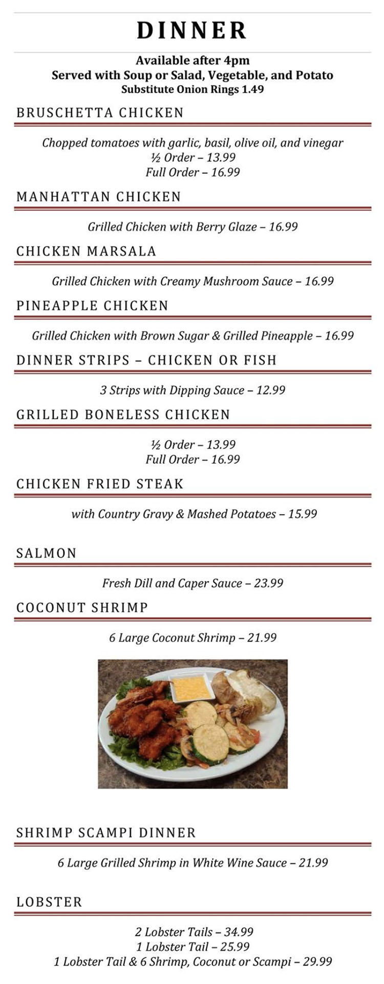 Blue Jay Cafe menu - dinner page two