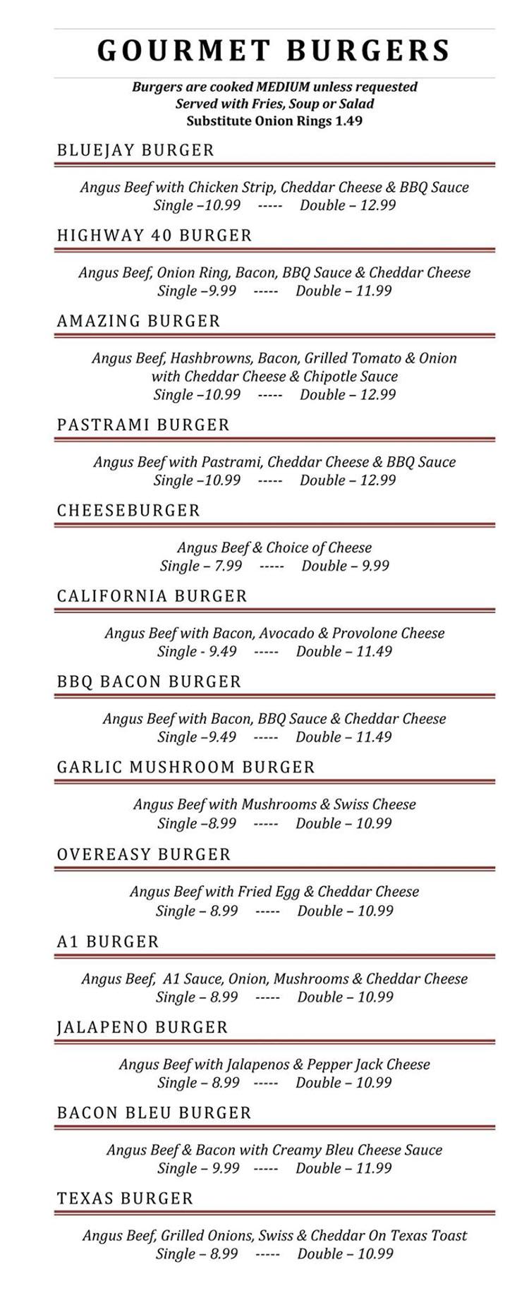 Blue Jay Cafe menu - gourmet burgers