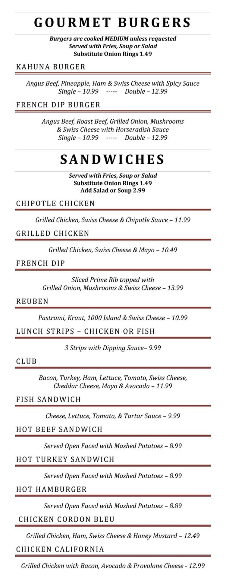 Blue Jay Cafe menu - more burgers, sandwiches