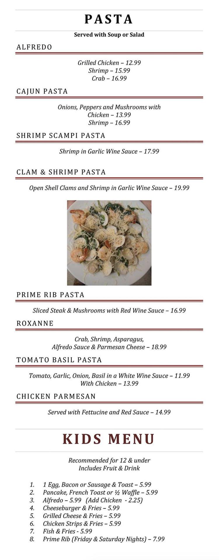 Blue Jay Cafe menu - pasta, kids