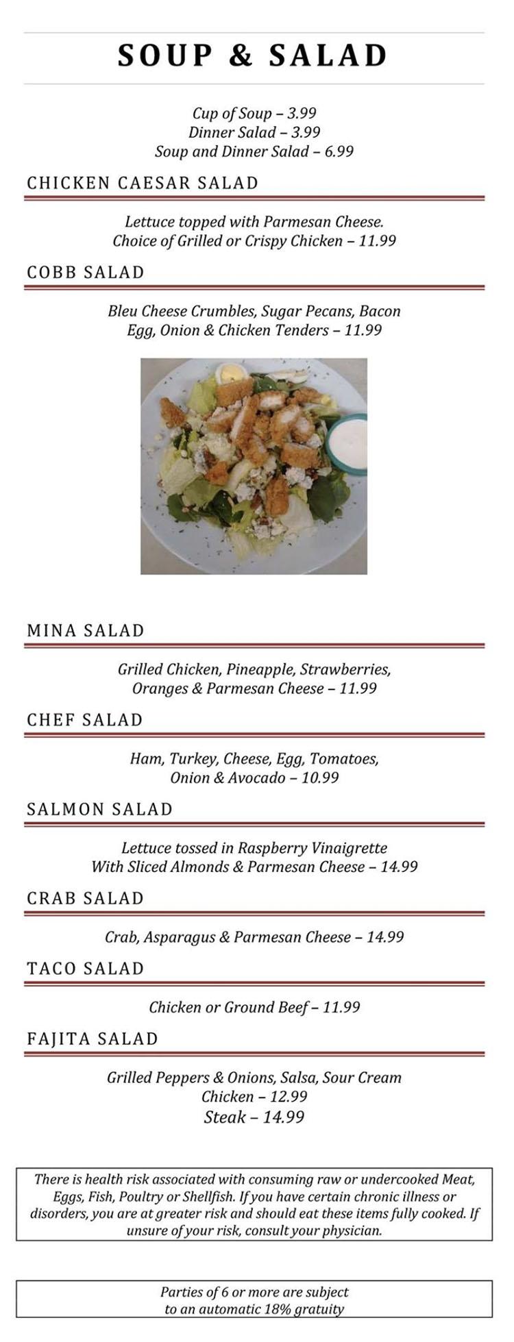 Blue Jay Cafe menu - soup, salad